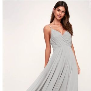 Lulu's Light Grey Maxi Dress - Small